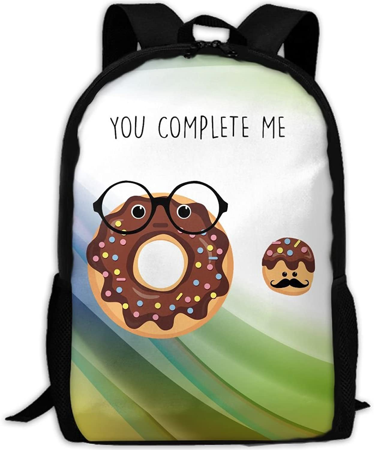 Adult Backpack You Complete Me Chocolate Donut College Daypack Oxford Bag Unisex Business Travel Sports Bag with Adjustable Strap