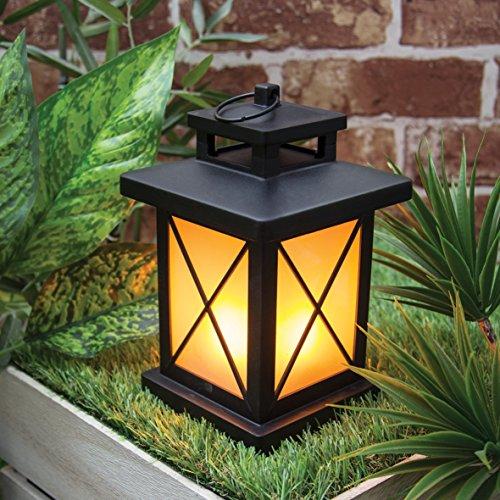 GardenKraft 16350 - Lanterna a LED con Effetto Fiamma tremolante, Funzionamento a Batteria, 20,6 cm x 13 cm x 13 cm, Colore: Nero