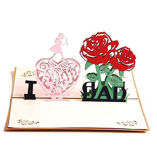 Klappkarte Postkarte I Love MOM und I Love DAD Muttertag Vatertag Geburtstag