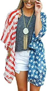 4th of July Women's American Flag Print Kimono Cover Up...