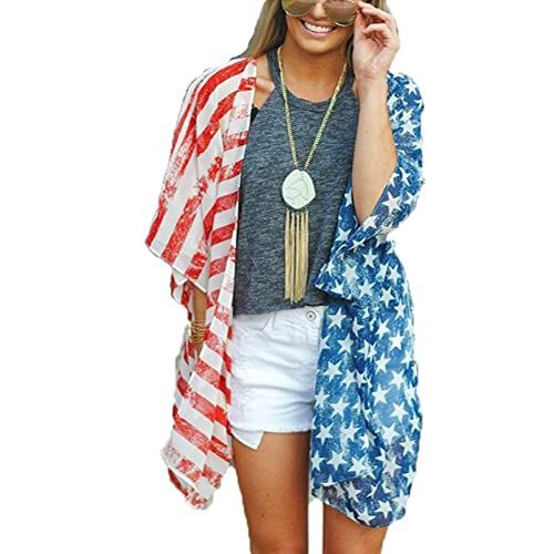 bb0277378 Happy GoGo Askwind 4th of July Women's American Flag Print Kimono Cover up  Tops Shirt
