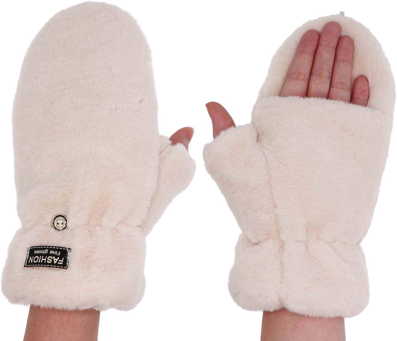 Women Winter Fuzzy Faux Fur Mittens Convertible Fingerless Flip Cover Warm Fleece Lined Gloves