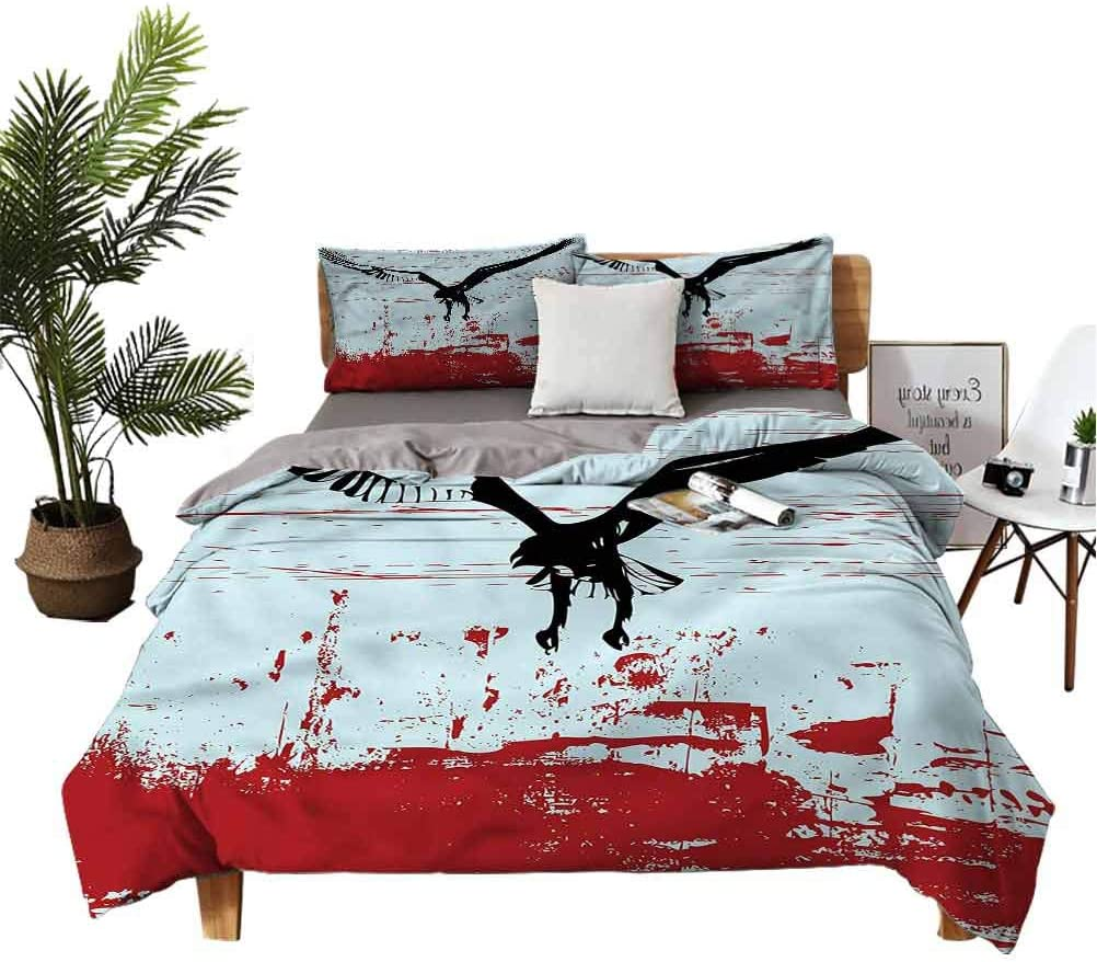 Grunge Bedspread Set Bald Same day shipping Eagle Flying in Tulsa Mall Teens Sky for Children