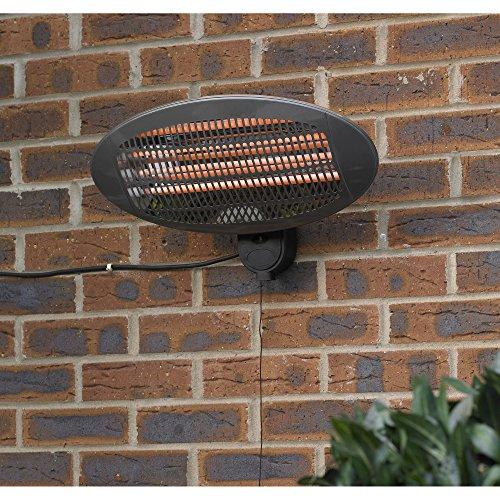 Kingfisher - Calentador eléctrico de Pared para Patio, Transparente, 50,5 x 16,5 x 25,2 cm