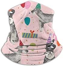 Schnauzer Birthday Party Dog Pink Fleece Neck Warmer Heat Trapping Sun-Proof Neck Gaiter Tube Soft Elastic Balaclava Half Mask Unisex Windproof Ski Neck Gaiter Cover For Winter Skiing Run