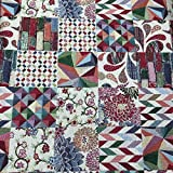 Kt KILOtela Tessuto per tappezzeria, jacquard Gobelino, tappezzeria, sedia, divano, cuscini, tende, tessuto di 100 cm di lunghezza x 280 cm di larghezza, patchwork, multicolore, 1 metro