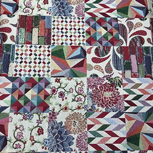 Kt KILOtela Tela de tapicería - Jacquard Gobelino - Tapizar, Silla, sofá, Cojines, Cortinas - Retal de 100 cm Largo x 280 cm Ancho | Patchwork - Multicolor ─ 1 Metro
