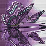 Cross Stitch Stamped Kits Embroidery PatternsStarter Kits for Beginners DIY Kit -Blue Butterfly Counted Cross Stitch Kits for Adults DIY Gift Adult Craft Kits for Women14.2×18.1Inch