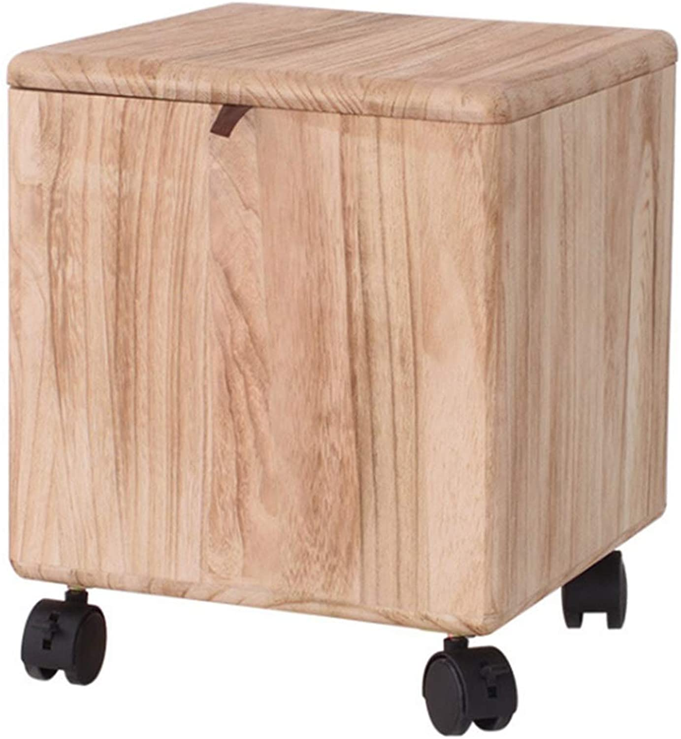 Square Stool Multifunctional Storage Stool Creative Solid Wood shoes Bench with Pulley Sofa Stool Makeup Stool WEIYV (color   Wood-color, Size   28  28  33cm)