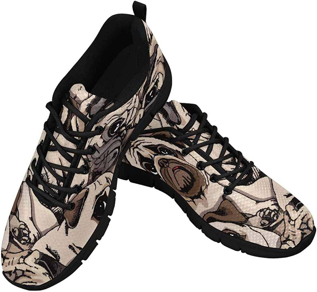 INTERESTPRINT Portrait of Many Pugs Women's Sneaker Lace Up Running Comfort Sports Shoes