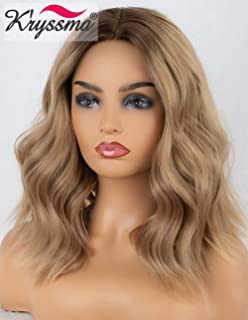 K'ryssma Ash Blonde Lace Front Wig Ombre with Dark Roots Bob Synthetic Wig Short Wavy Dirty Blonde Wigs for Women