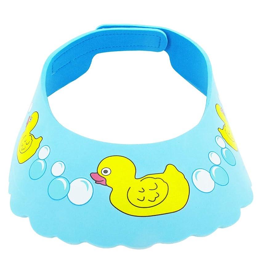 ジェスチャー知り合い冷凍庫QXFD シャンプーキャップ子供のお風呂キャップ肥厚調整イヤーマフシャンプーキャップシャワーキャップブルーアヒルの子 (Color : Blue)