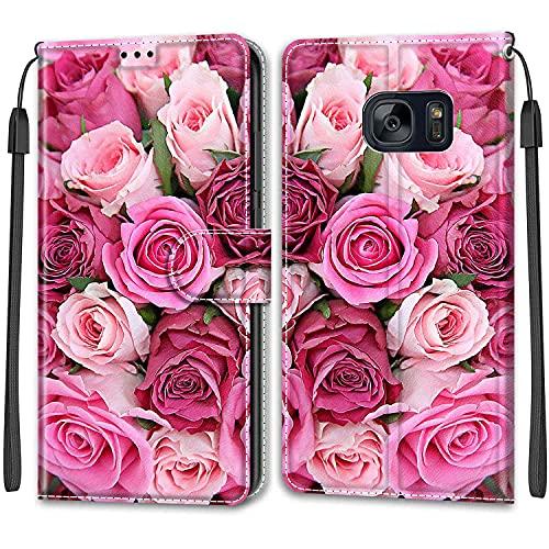 iCaseU Carcasa para Samsung Galaxy S7 Flip Cover, Patrón PU Cuero Funda,Cubierta de Ranuras para Tarjetas,Caja de Soporte con Cierre Magnético Caso telefono para Samsung Galaxy S7,Rosa Rosada