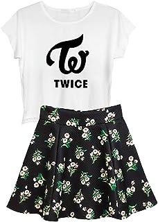KPOP BTS Blackpink Ikon Seventeen Stray Kids Twice Wanna One Top + Floral Skirt Set 2pcs Dress