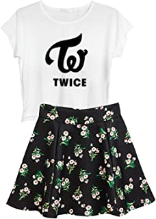 Kpop BTS Blackpink Ikon Seventeen Stray Kids Twice Wanna One Top + Floral Skirt Set 2pcs Dress