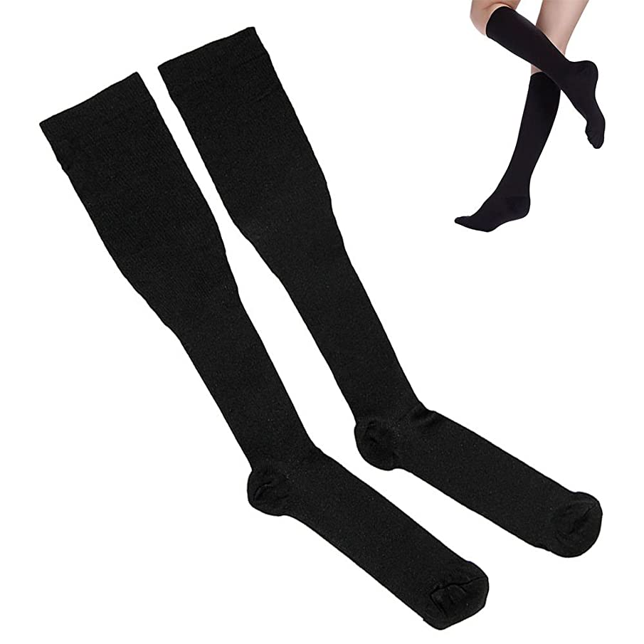 標高魅力的であることへのアピールポジティブbluecookie_jp 靴下 着圧ソックス 着圧 ハイソックス 綿100% 消臭 むくみ解消 冷え性 弾性ストッキング脚痩せ 足やせ レディース メンズ 上質 セット 男女兼用 ブラック (L)