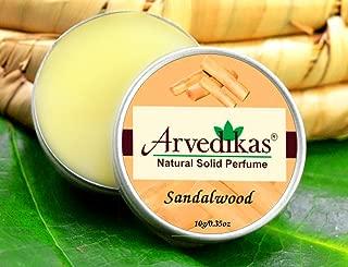 Arvedikas Sandalwood Natural Solid Perfume Beeswax/Mini Jar/Floral Fragrance/Sandalwood Perfume/Essential Oil Blend Perfume Pocket Size Compact Cologne/Scen 10gm (29 Varieties) (Sandalwood)