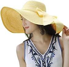 XGao Sunhat Womens, Womens Sun Hats Big Brim Straw Hat Floppy Wide New Bowknot Folding Beach Cap for Women Summer Sunhat Lightweight Foldable Packable Decorative (Yellow)