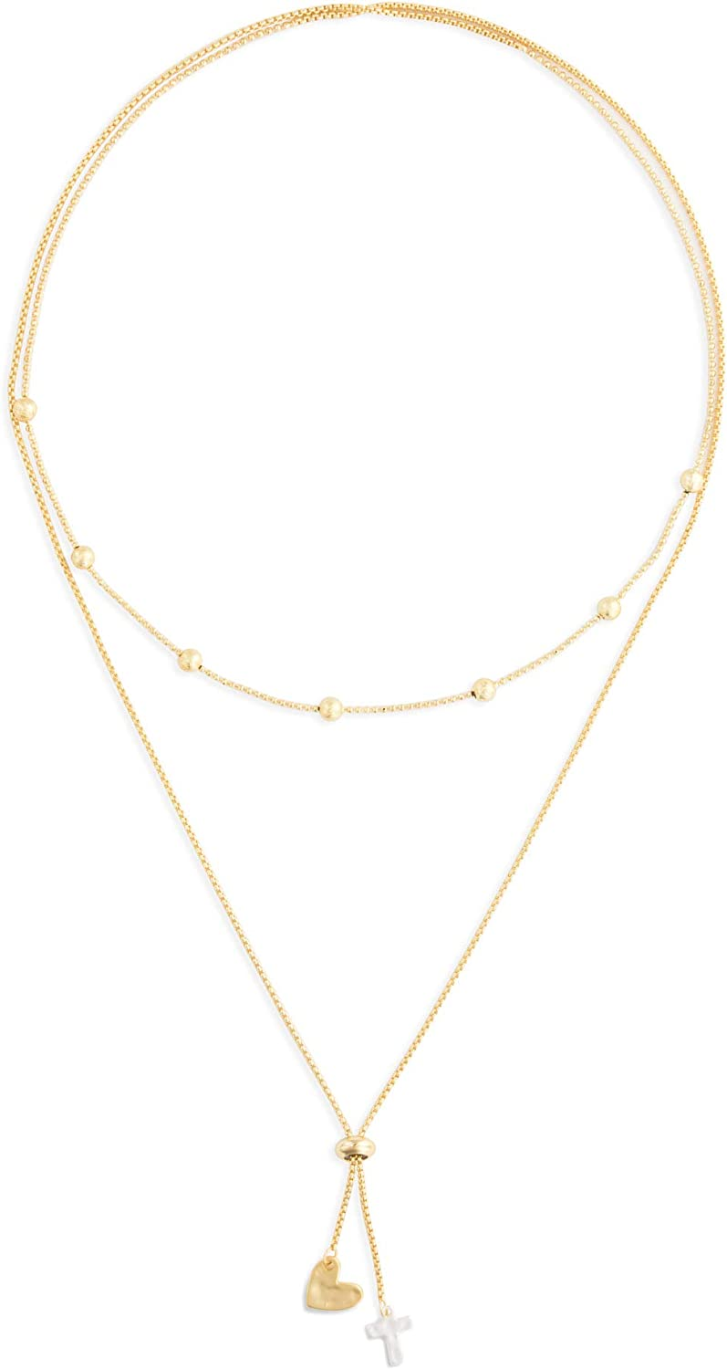 DEMDACO Heart and Cross Gold Tone One Size Fits Most Brass Metal Lariat Charm Necklace