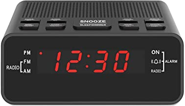 "Digital Alarm Clock Radio, Small Alarm Clocks for Bedrooms - AM/FM Radio, 0.6"" LED Digits Dimmerable Red Display, Easy Snooze, Sleep Timer, Battery Backup"