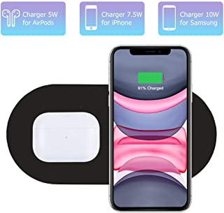 Dual Wireless Charger, COSOOS Qi Certified Fast Wireless Charging Pad Compatible with iPhone 11/11 Pro/11 Pro Max/Xs MAX/XS/XR/X/8/Airpods Pro, Galaxy Note 10/S10/Galaxy Buds(Adapter Included)