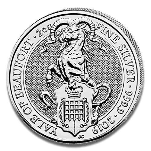 Queen's Beasts Silbermünze - einzeln in Münzkapsel verpackt - Sammlermünze (2oz 2019 Yale of Beaufort)