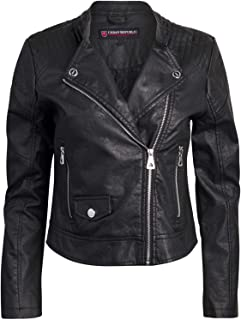 Women Faux Leather Moto Biker Jacket with Studded Detailing