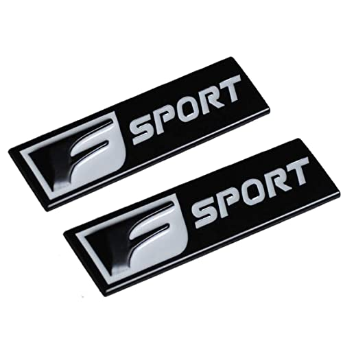 TK-KLZ 2Pcs 3D Metal F-SPORT Car Side Fender Rear Trunk Emblem Badge Sticker Decals for Lexus ES NS IS ISF LC CT GS GX LX LS RX RC RC FRX350 Car Body Fitting Decoration (Color Black)
