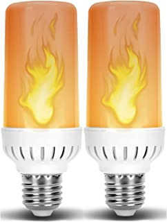 Flame LED Light Bulb in E26 Medium Edison Screw Base DC 12 Volt Landscaping Low Voltage Lighting for Home Landscape Outdoor Battery System Flickering Glowing Amber Fire Effect (4W, Warm White) 2 Pack