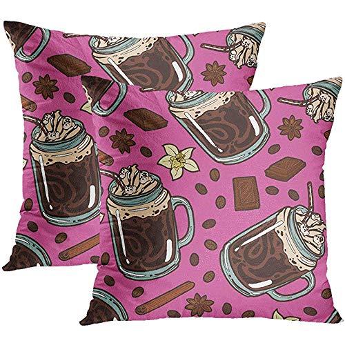 Sonder-Shop Gooi Kussenhoezen Hot Chocolade Slagroom Crème Siroop Drinkende Rietpot Vanille Koffiebonen Verborgen Rits Kussenslopen Kussenslopen