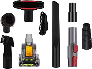 Household Cleaning Kit Vacuum Cleaner Accessories &Air Driven Pet Upholstery Turbo Brush Vacuums Nozzle Tool Pet Attachment Swivel Head with 35mm to 32mm Vacuum Attachment Adapter & Dyson V8 Adapter