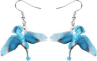 Bonsny Drop Dangle Blue Hummingbird Earrings Bird Pattern Fashion Jewelry For Women Girls Charms
