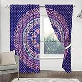 Sophia Art Indian Badmeri Mandala Tapiz para habitación, Cortinas Boho Mandala para ventana, 2 unidades, 2 unidades