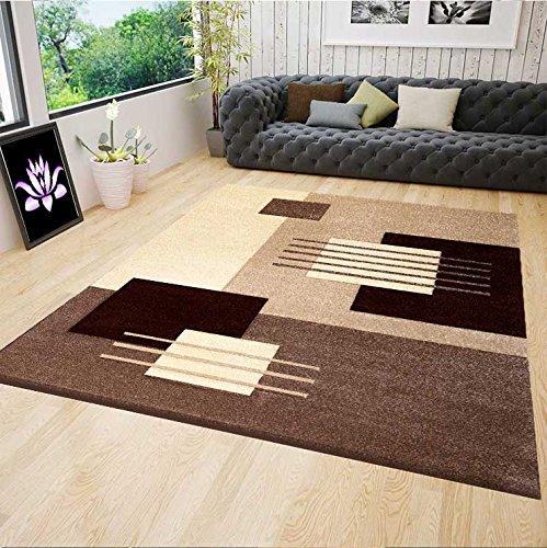 VIMODA cascadapl6081 Moderne Design Tapis pour Salon, Coupés à la Main Contours, Beige/Marron - Beige, 120 x 170 cm