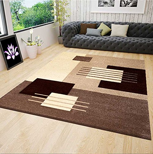 VIMODA Modernes Design Teppich in Braun Beige mit Konturenvertiefung, Maße:120 x 170 cm