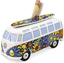 BRISA VW Collection - Volkswagen Bus T1 Camper Van Kombi Money Bank/Piggy Bank/Savings Box - Gift Idea/Fan Souvenir/Retro Vintage Article (Ceramic/1:18/Flower Power)