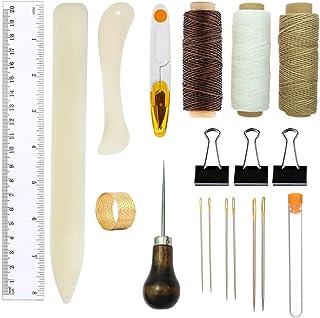 Kits D'outils de Reliure,Ensemble D'outils de Démarrage de Couture En Cuir de 19 Pièces pour L'artisanat de Bricolage,Ense...