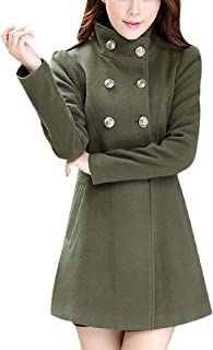 Womens Vintage Double-Breasted Coats Winter Pure Color Outwear Long Sleeve Casual Jackets Elegant Maxi Wrap Top
