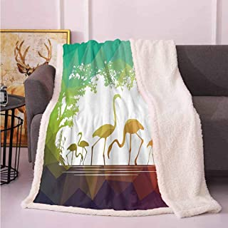 Wildlife Decor Sherpa Comforter Modern Flamingo Figures in Digital Art with Polygonal Featured Shadow Effects Throws and Blankets for Sofa Multi 60″x80″