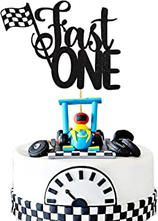 HEETON Fast One Cake Topper Race Car Racing First Boy Girl Chequered Flag Birthday Party Supplies Decorations