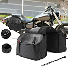 Zqasales Motorcycle Synthetic Leather 2-Strap Saddlebag Tool Bag Heavy-Duty Waterproof Motorcycle Side Saddlebags Saddle Bag Panniers