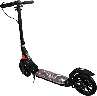 GYMAX Kick Scooter, Folding Dual Suspension 2 Big Wheels Scooter Adjustable Height, Max Load Capacity 220 Lbs, for Teens Adults