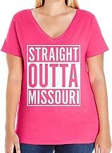 Tenacitee Women's Straight Outta Missouri Plus Size V Neck T-Shirt, Size 1, Hot Pink