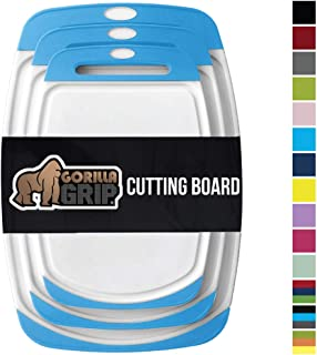 Gorilla Grip Original Reversible Cutting Board, 3 Piece, BPA Free, Dishwasher Safe, Juice Grooves, Larger Thicker Boards, Easy Grip Handle, Non Porous, Extra Large, Kitchen, Set of 3, Aqua
