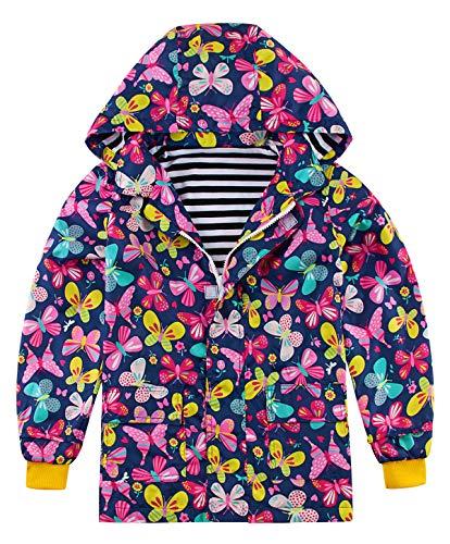 Funnycokid Unisex Kinder Regenmantel Wasserdichte Schneeregenjacke mit Taschen Schmetterlingsdruck 6-7 Jahre