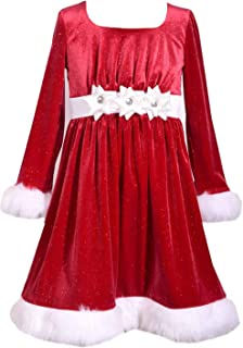 Bonnie Jean Red Holiday Velvet Sparkle Dress with Fur Trim for Toddler, Little and Big Girls
