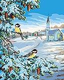 wcyljrb Pintura Digital de Bricolaje Escena de Nieve de Pueblo pequeño Pintura al óleo Digital Lienzo Pintura de Arte familiar-20 x 25 Pulgadas (sin Marco)