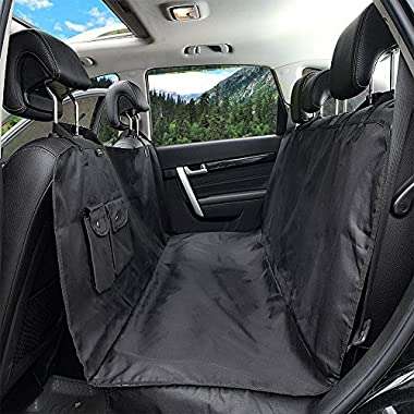 Winner Outfitters Dog Car Seat Cover With Side Flap, Pet Seat Cover With Zipper and Pocket Dog Seat Cover for Cars, Trucks, and Suv's - Black, WaterProof & NonSlip Backing