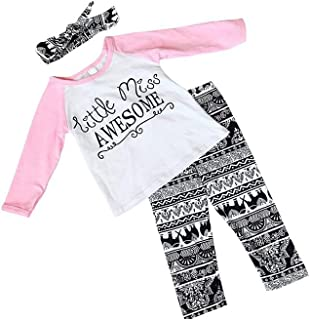 af7bc9615 Baby Girl Outfits Set Letter Long Sleeve Tops T-Shirt and Pants with  Headband 0