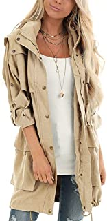 LAMISSCHE Womens Casual Outerwear Militray Hooded Anorak Parka Jackets with Drawstring Ties Zip Up Utility Safari Coat